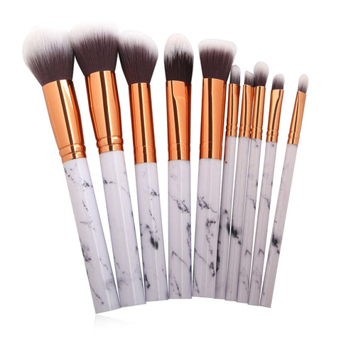 Image of 10Pcs Marble Make Up Brushes - SilkyHairShop.com