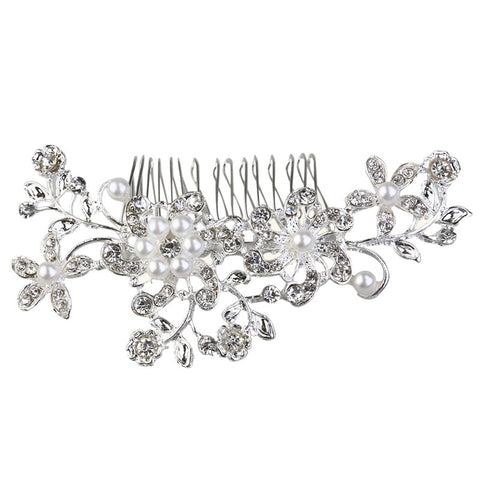 Crystal and Pearl Floral Hair Comb - SilkyHairShop.com