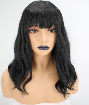 Eva Long Black Bob Natural Wave Synthetic Wig - SilkyHairShop.com