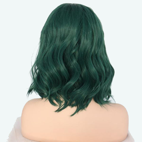 Emeralda Lace Front Wavy Long Bob color Green - SilkyHairShop.com