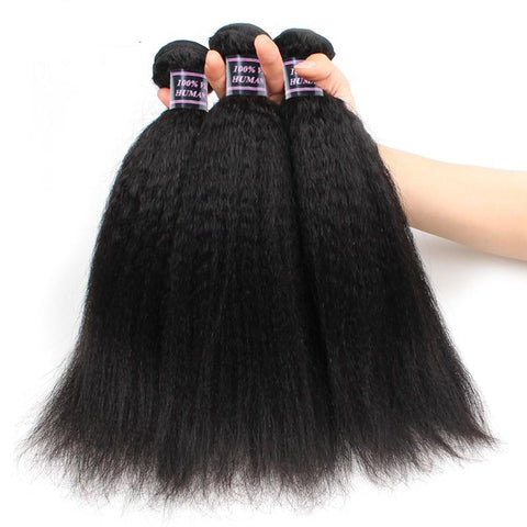 Brazilian Virgin Kinky Straight Human Hair - 3pcs. - SilkyHairShop.com