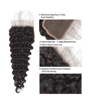 Brazilian Deep Wave Virgin Human Hair 2 or 3 Bundles with Free Part Closure