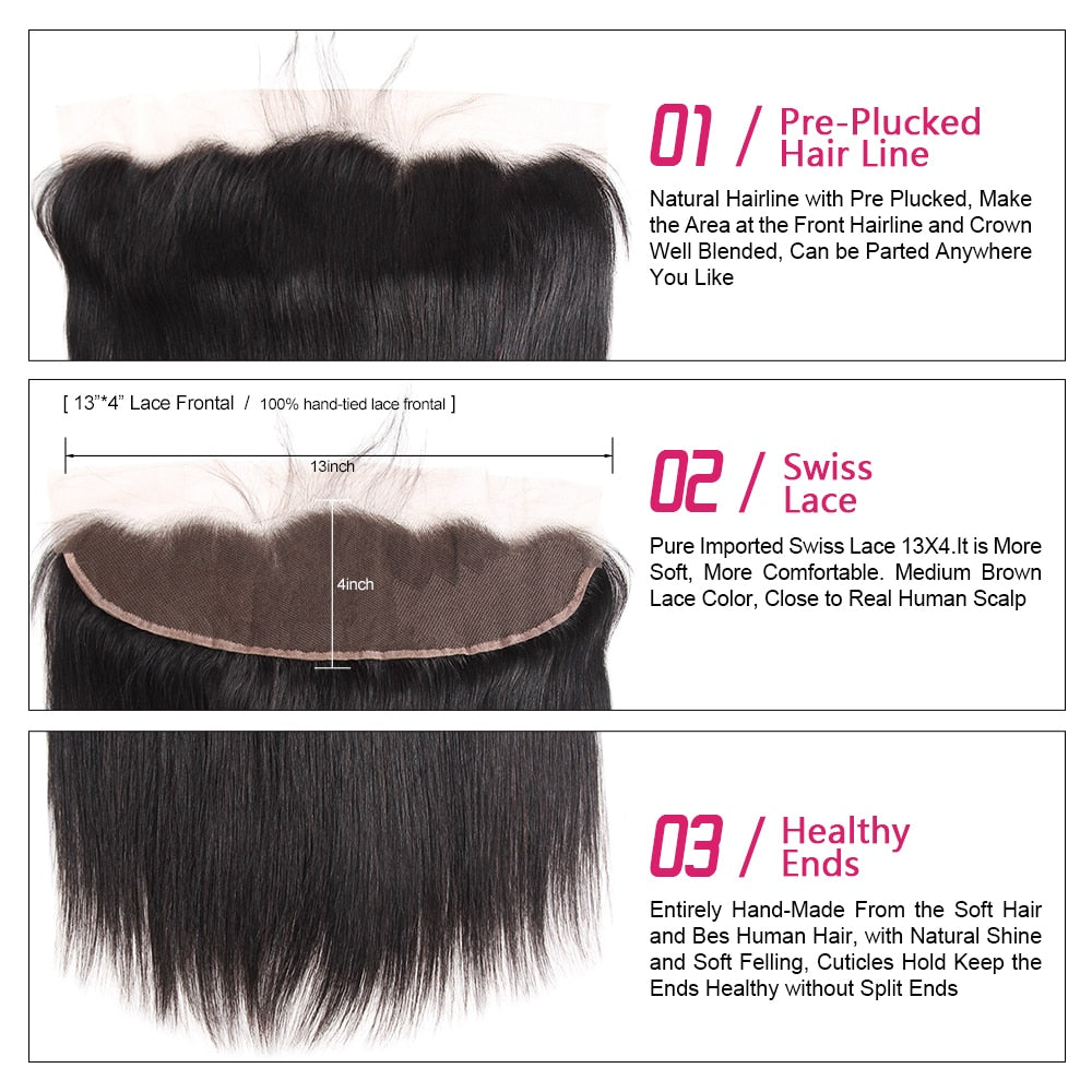 Malaysian Virgin Straight Hair 3 Bundles With Lace Frontal - SilkyHairShop.com
