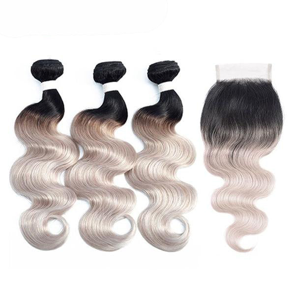 Pre-Colored Ombre Brazilian Body Wave Remy 100% Human Hair with Closure 6 colors - SilkyHairShop.com