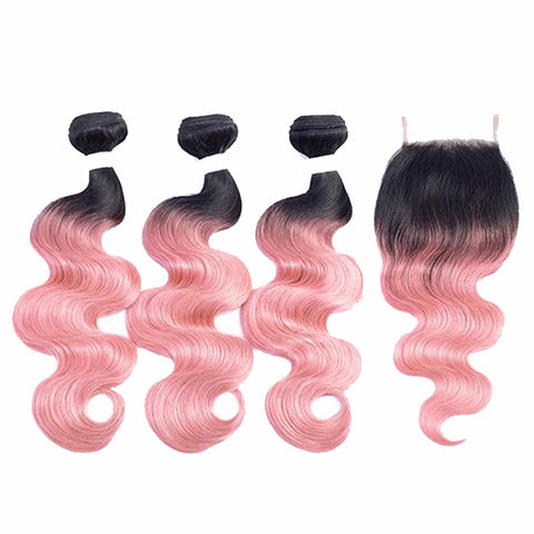 Image of Pre-Colored Ombre Brazilian Body Wave Remy 100% Human Hair with Closure 6 colors - SilkyHairShop.com