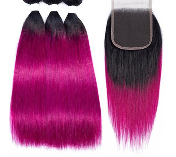 Pre-Colored Ombre Brazilian Straight Remy 100% Human Hair with Closure 6 colors - SilkyHairShop.com