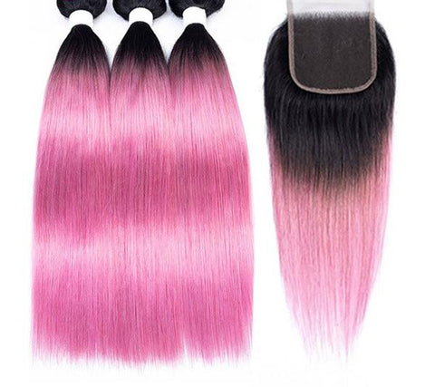Image of Pre-Colored Ombre Brazilian Straight Remy 100% Human Hair with Closure 6 colors - SilkyHairShop.com