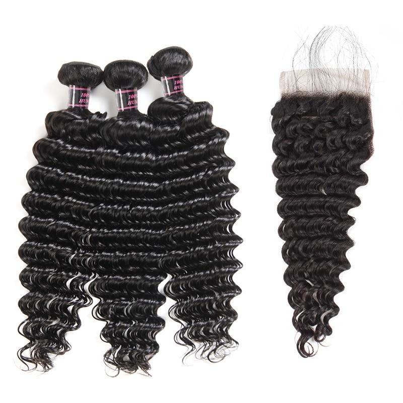 Brazilian Deep Wave Virgin Human Hair 2 or 3 Bundles with Free Part Closure - SilkyHairShop.com