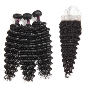 Brazilian Deep Wave Human Hair  2 or 3 Bundles with Middle Part Closure