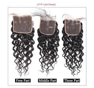 Brazilian Virgin Water Wave 2 or 3 Bundles With Middle Part Closure