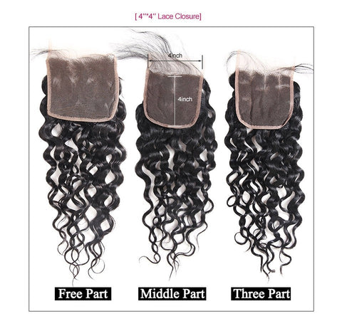 Image of Brazilian Virgin Water Wave 2 or 3 Bundles With Middle Part Closure - SilkyHairShop.com