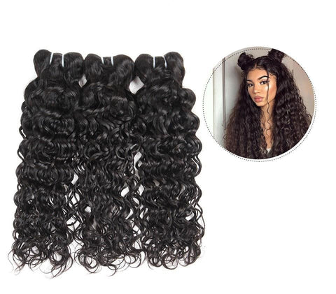 Brazilian Virgin Water Wave 2 or 3 Bundles With Free Part Closure - SilkyHairShop.com