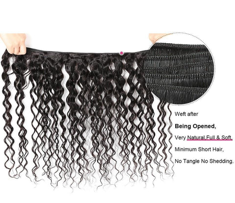 Image of Brazilian Water Wave Human Hair 4 Bundles With Lace Frontal - SilkyHairShop.com
