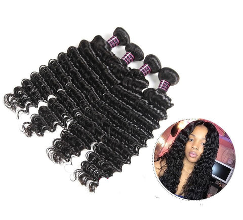 Brazilian Deep Wave Human Hair  2 or 3 Bundles with Three Part Closure - SilkyHairShop.com