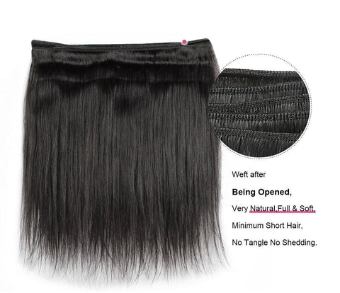 Image of Malaysian Virgin Straight Hair 3 Bundles With Lace Frontal - SilkyHairShop.com