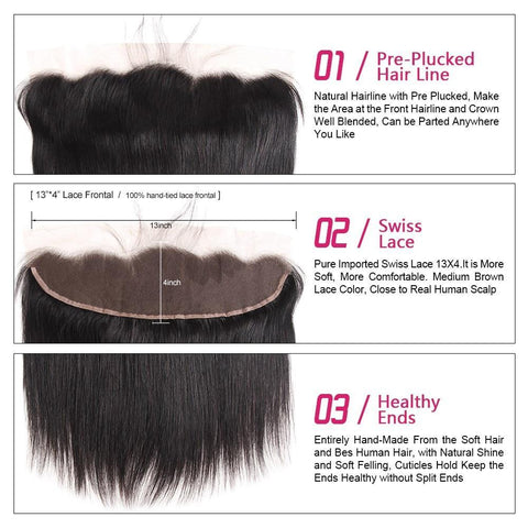 Image of Brazilian Straight Hair 2 or 3 bundles with Lace Frontal - SilkyHairShop.com