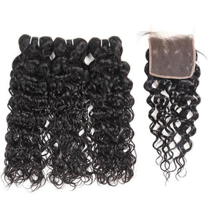 Brazilian Virgin Water Wave 2 or 3 Bundles With Middle Part Closure - SilkyHairShop.com