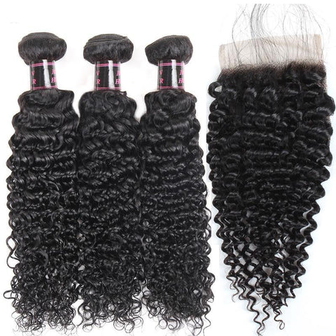 Image of Malaysian Virgin Kinky Curly Hair 2 or 3 Bundles With Middle Part Closure - SilkyHairShop.com