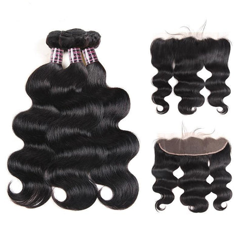 Brazilian Virgin Body Wave Hair 3 Bundles With Lace Frontal - SilkyHairShop.com