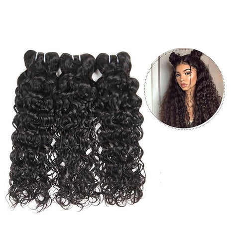 Image of Brazilian Virgin Water Wave Human Hair 1, 3 or 4 Bundles - SilkyHairShop.com