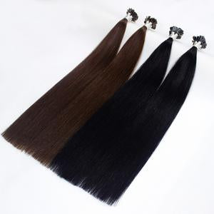 Italian Flat Tipped Remy Double Drawn Human Hair Straight Extensions - 100 pcs - SilkyHairShop.com