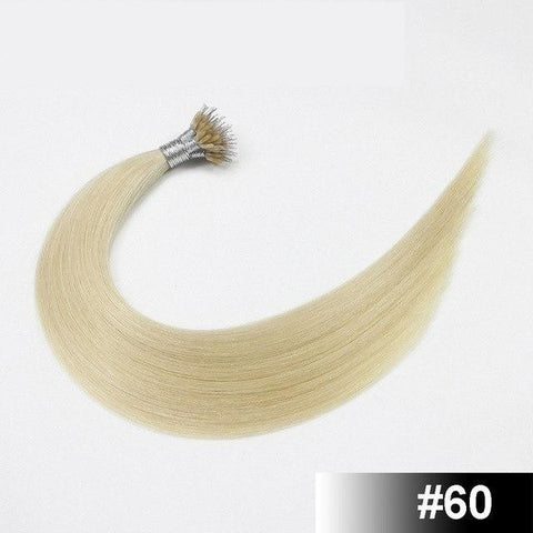 European Nano Ring Remy Human Hair Extensions - 50 Pieces - SilkyHairShop.com