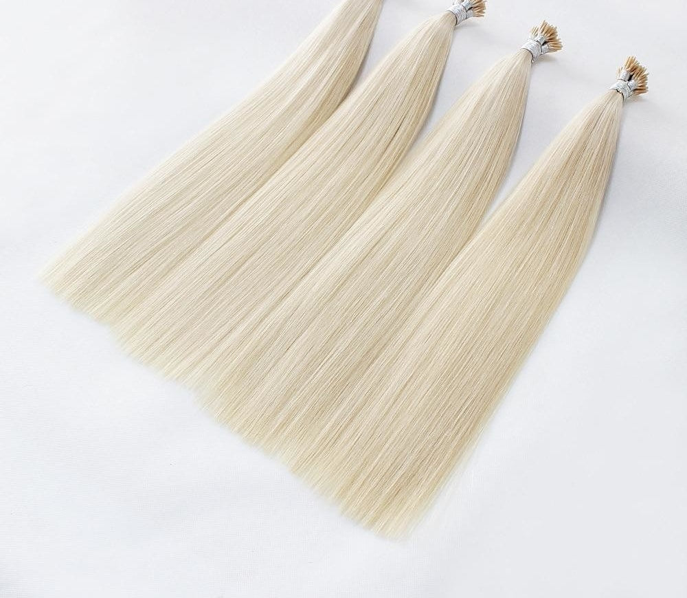 Italian Keratin I Tip Remy Double Drawn Hair Extensions - Color 60 - 100 pc. - SilkyHairShop.com