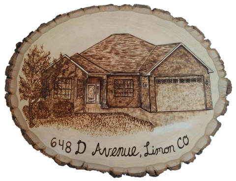 house portrait done with wood burning