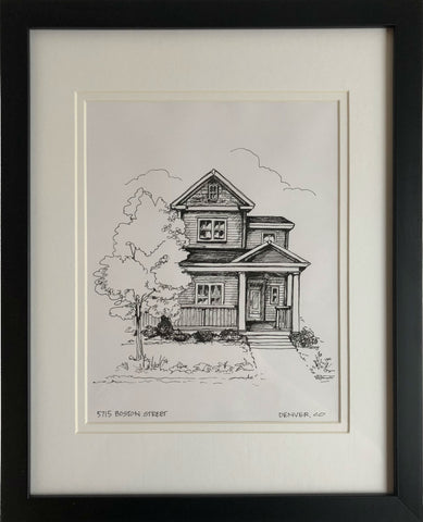 Pen and Ink sketched house portrait