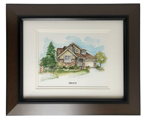 framed and matted watercolor house portrait
