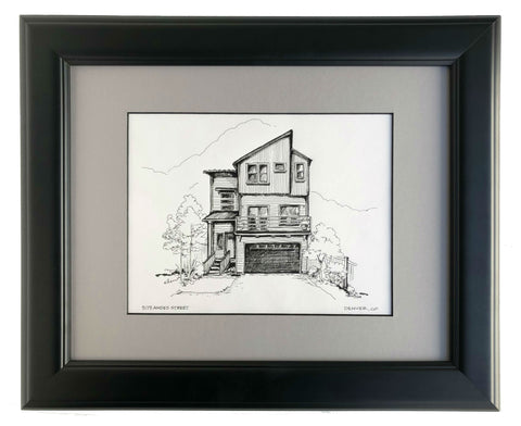 Classic pen and ink house portrait