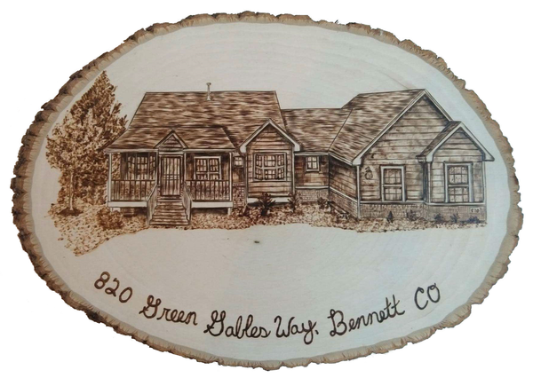 Wood burn house portrait