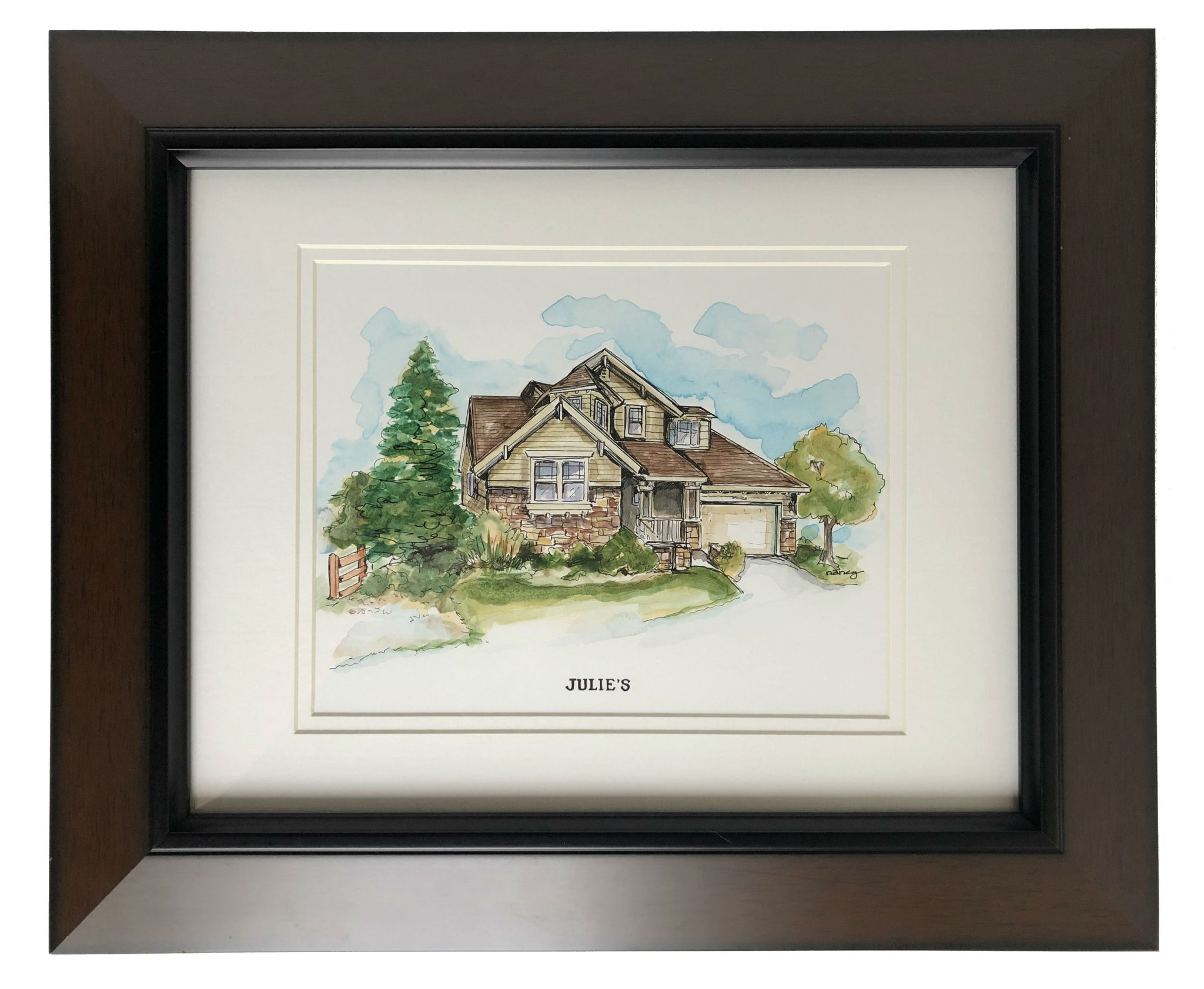 A portrait of your home tastefully done in watercolor and India ink