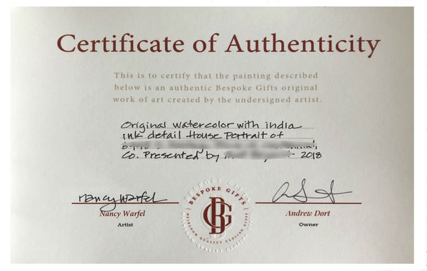 Closeup of certificate of authenticity