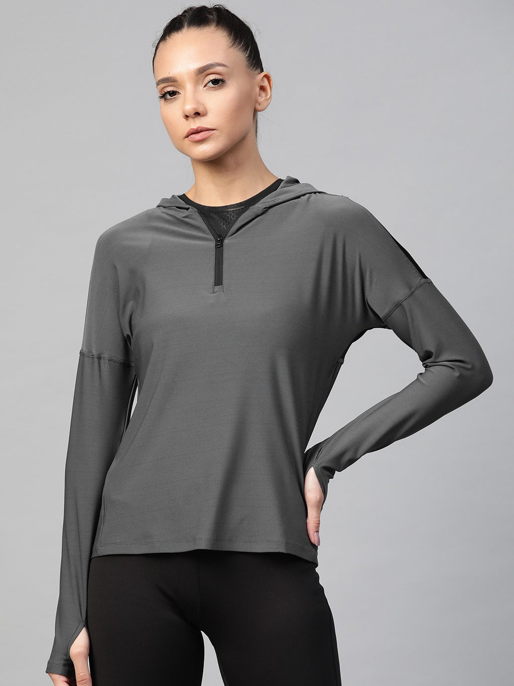 Fitkin Women Charcoal Grey Solid Hooded Training T-shirt