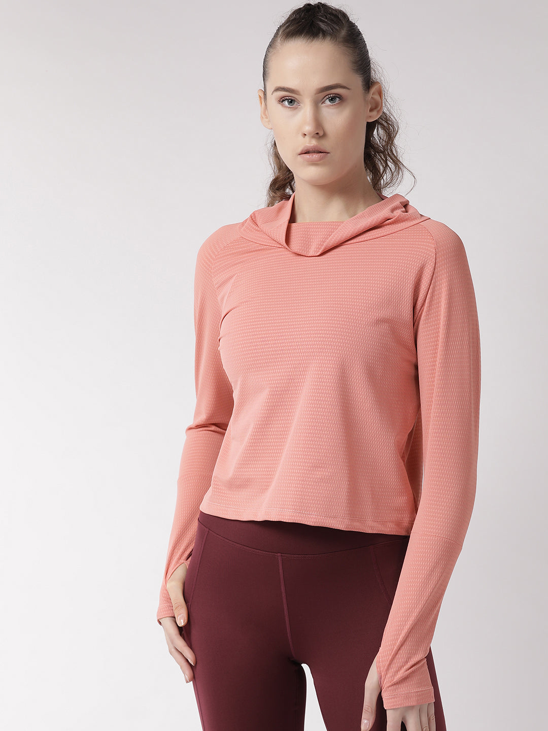 Fitkin Women Pink Self Design Top