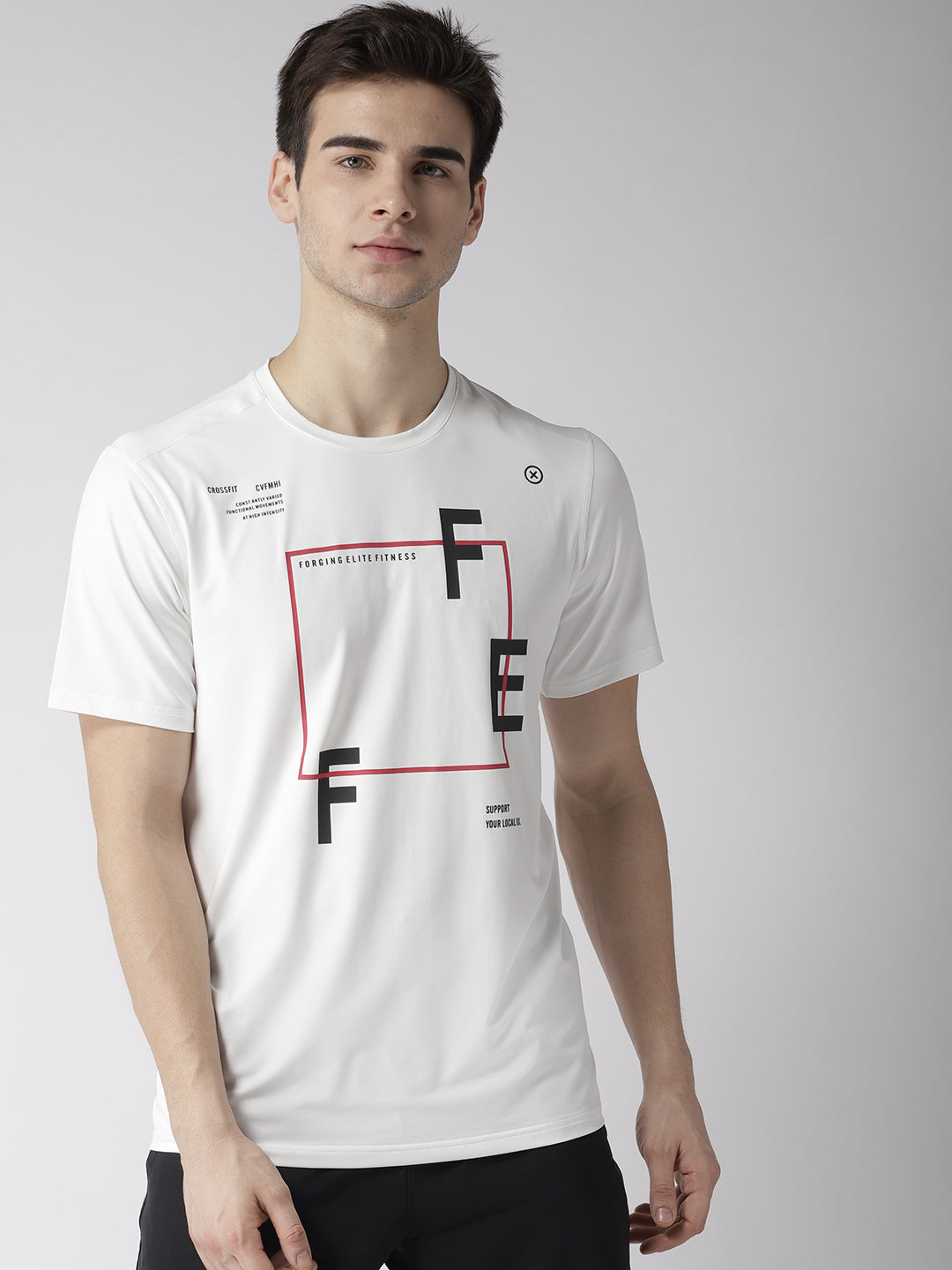 Mens White/Red Graphic Print T-shirt