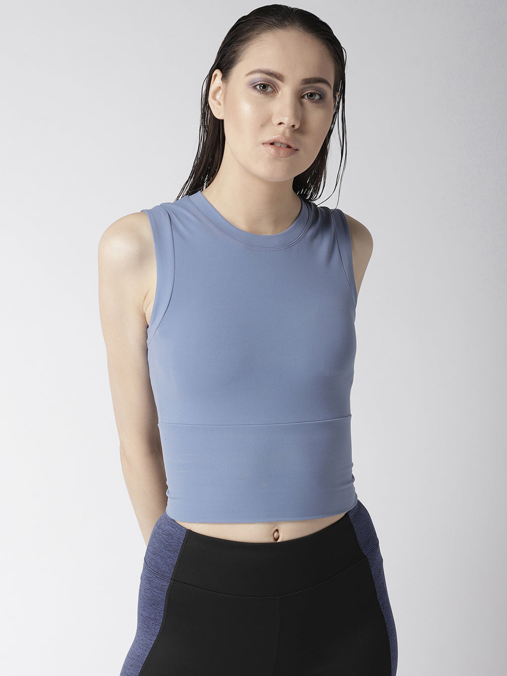 Fitkin Blue Training Crop GymTop
