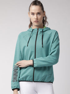 Fitkin Women Teal Blue Self Design Running Sporty Jacket