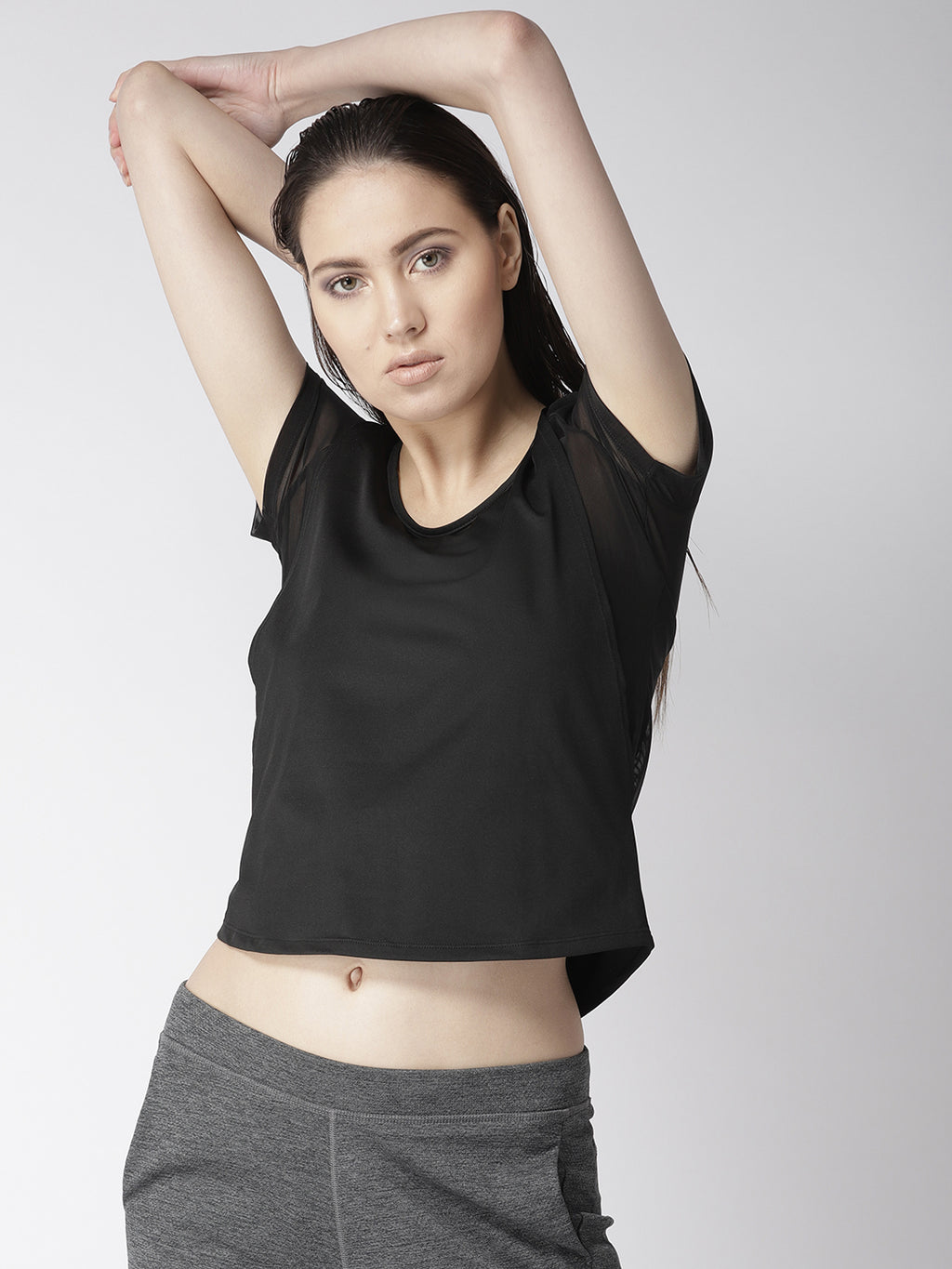 Fitkin Black Athleisure Layered Gym Top