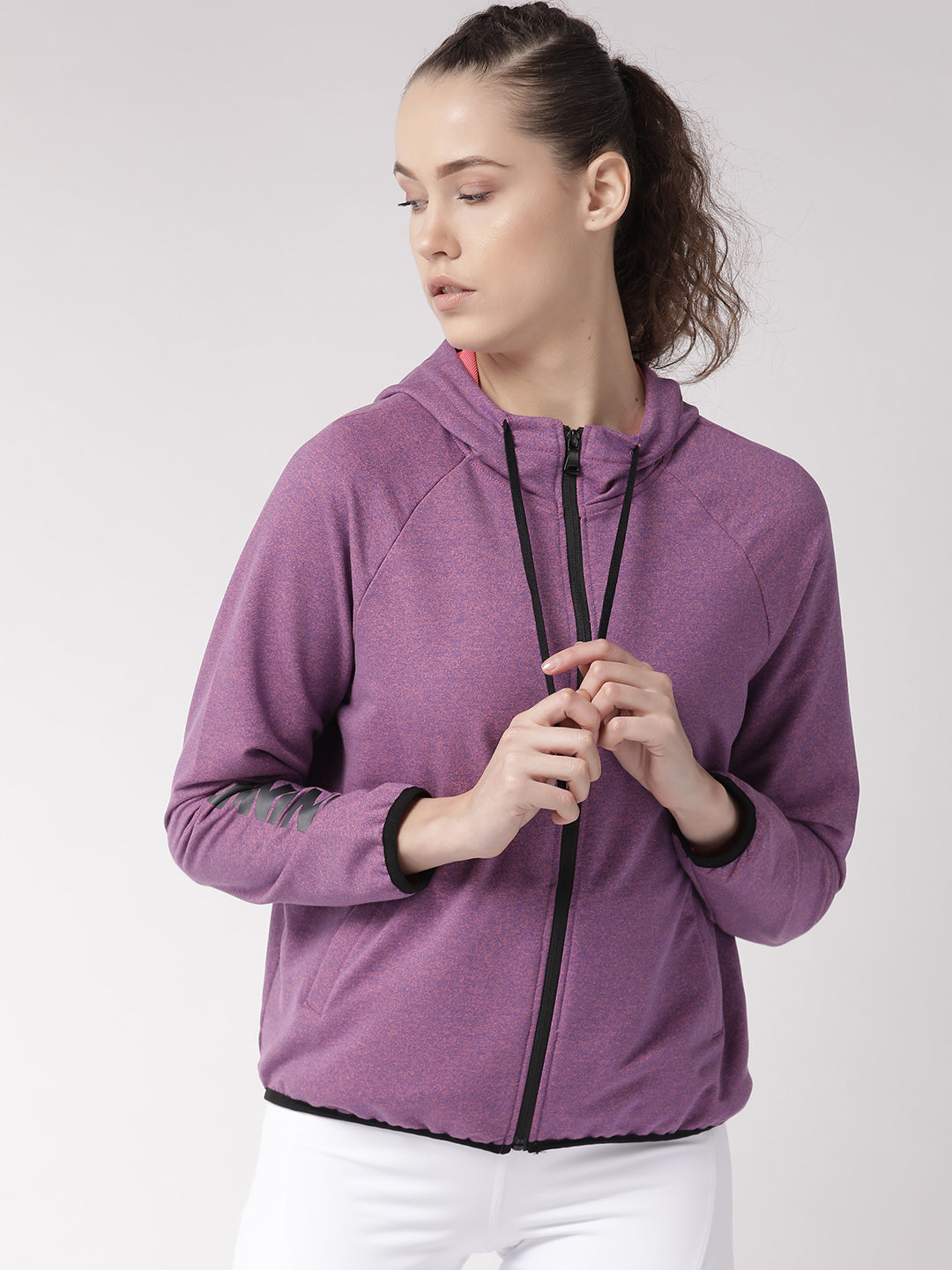 Fitkin Women Pink Self Design Running Sporty Jacket