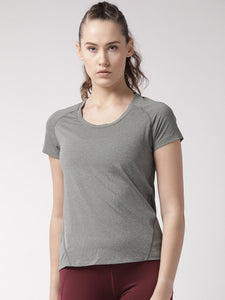 Fitkin Women Charcoal Solid Round Neck Running T-shirt