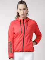 Fitkin Women Red Self Design Running Sporty Jacket
