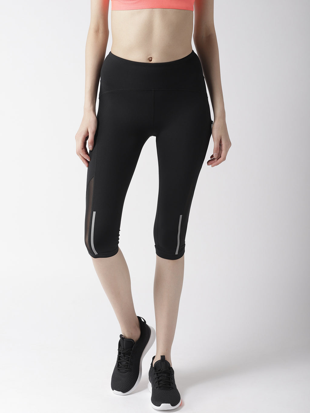 Mesh Panel Capri Leggings