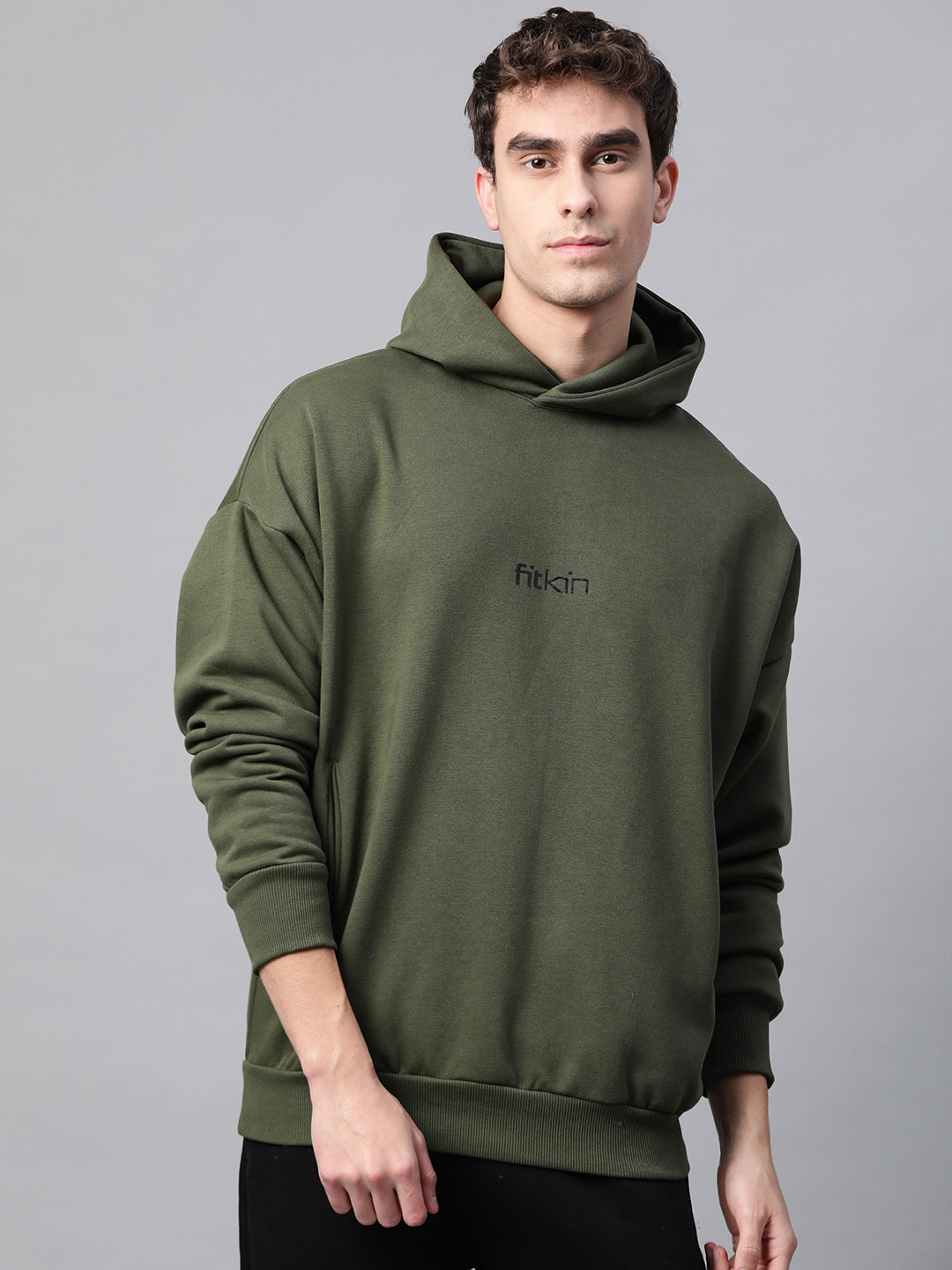 Fitkin Men Olive Green & Black Fleece Winter Hooded Sweatshirt With Brand Logo Print Detail