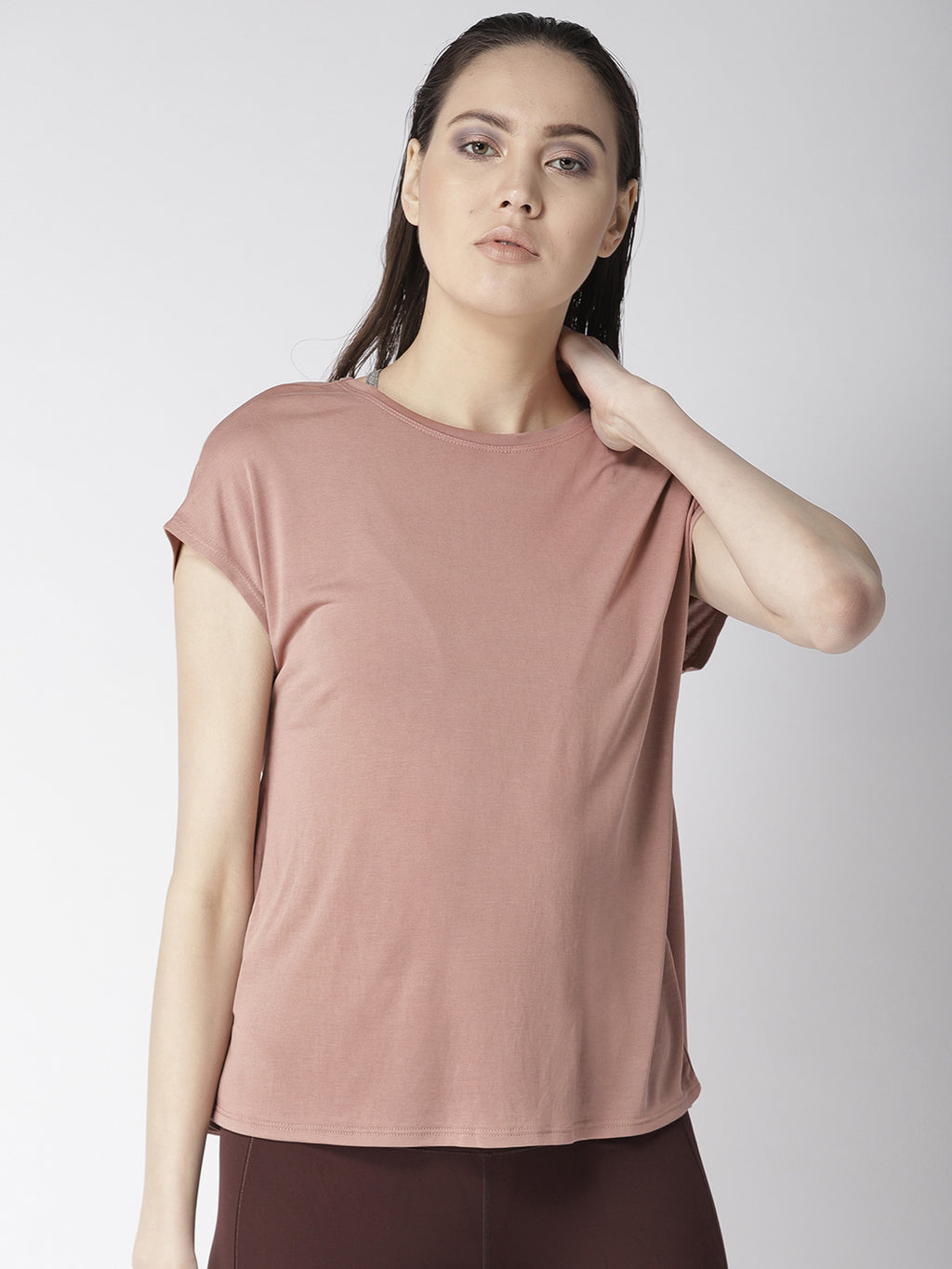 Fitkin Pink Relaxed Fit Yoga Back Tie Top