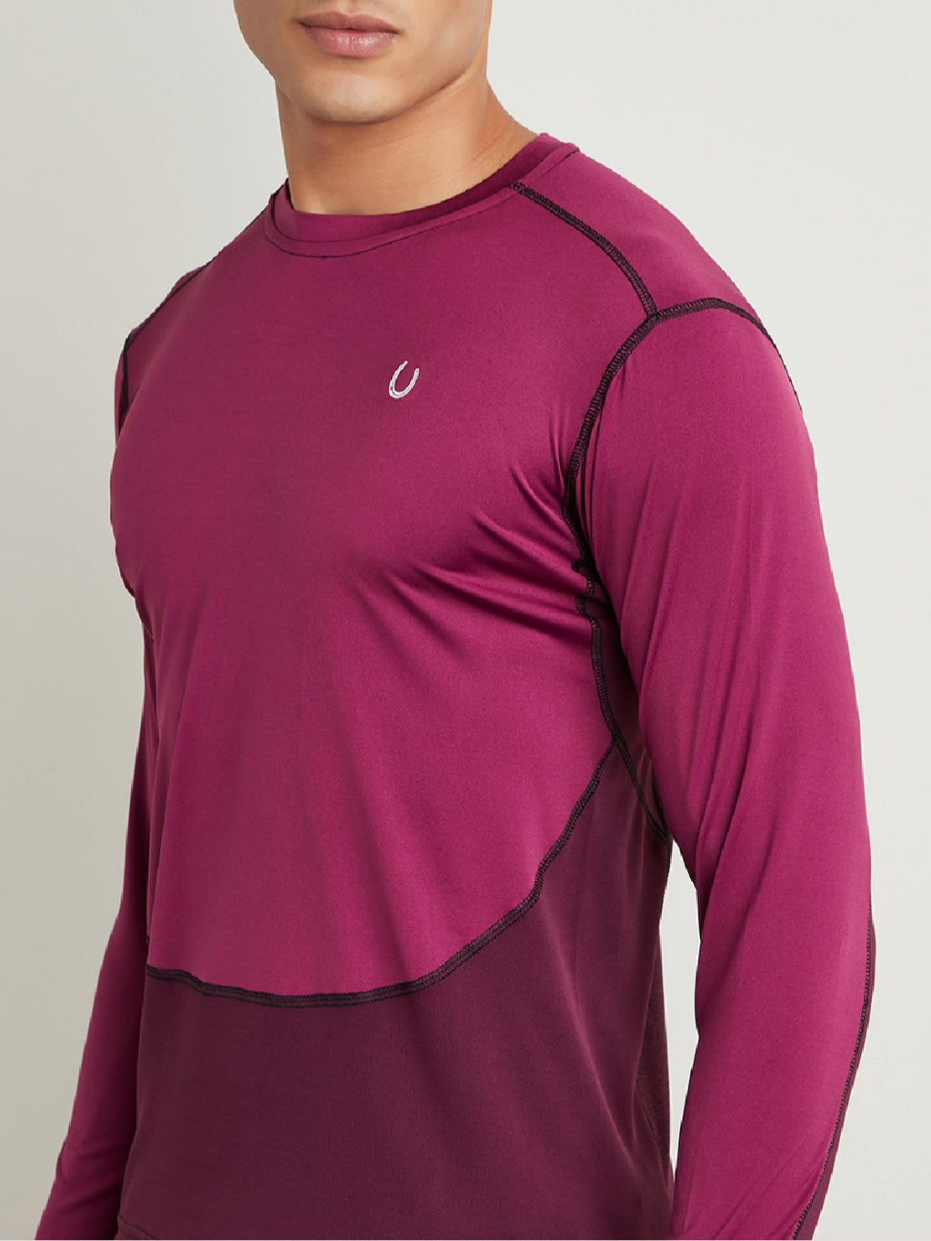 Fitkin Men Burgundy Colourblocked Round Neck T-shirt