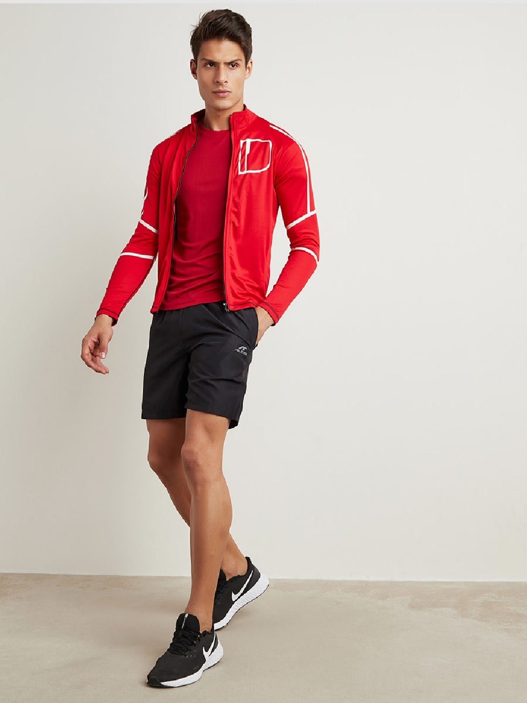 Fitkin Men Red & White Printed Sporty Jacket