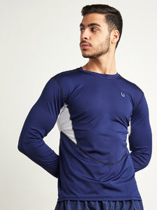 Fitkin Men Navy Blue Solid Round Neck Training T-shirt