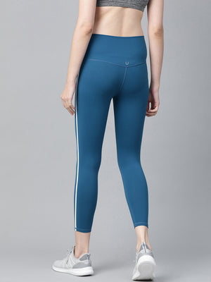 Fitkin Women Teal Blue Solid Cropped Training Tights